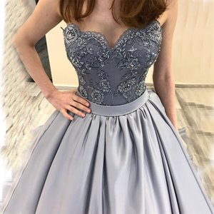 Wholesale Sweetheart Prom Dresses A-line Appliques Beaded Satin Skirt 2019 New Gray Vestidos De Formal Party Gowns Prom Dress