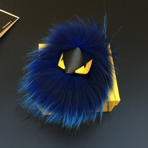 Wholesale Fluffy Real Fox Fur PomPom Leather Face Little Monster Bag Charm Genuine Fur Keychain Luxury Car Jewelry Pendant TKK037 darkblue