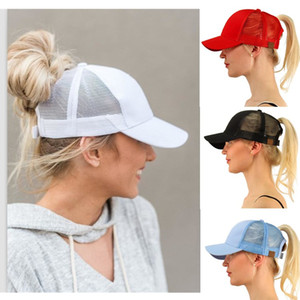 Ponytail Ball Cap Messy Bun Trucker Ponycap Plain Baseball Visor Cap Ponytail Snapbacks Basketball Hats Back Hole Pony Tail 2019 Hotselling