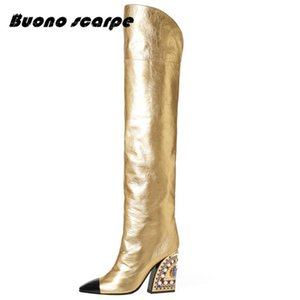 Wholesale Buonoscarpe New Leather Golden Fashion Boots Bota Feminina New Arrival Botas Mujer Water Drill Special shaped Pipe High Heels