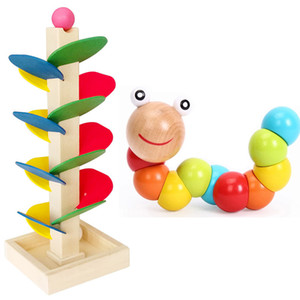 Wholesale Montessori Sensorial Children Kids Wooden Toy Colorful leaves and Caterpillar Educational Toy Assemblying Block Toy Y200111