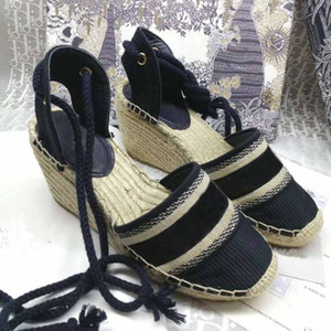 Wholesale sewing weaves for sale - Group buy Fashion designer style ladies canvas new thick bottom straw fisherman weave wedge sandals summer beach embroidery strap high heel sandals