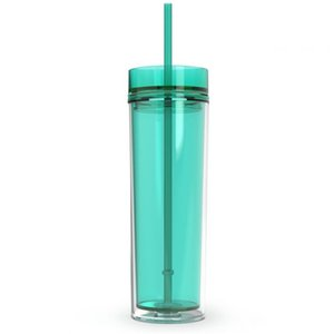 Hot Sell !!Acrylic Skinny Tumblers with Lids and Straws 16oz Double Wall Clear Plastic Tumbler Multi Colors