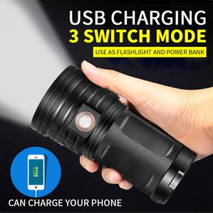 Wholesale Powerful Lumen T6 LED Torch LED Flashlight Modes USB Charging Linterna Portable Lamp for Charging Phone Power Bank