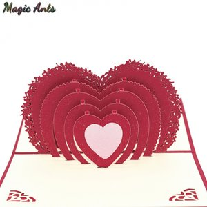 Wholesale 3D Heart Shaped Love Pop UP Cards Wedding Invitation Valentines Day Card Anniversary Gift Card for wife husband Greeting Cards