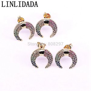 Wholesale 8pair New Style Fashion Cz Zirconia Micro Pave Double Horn Crescent Moon Shape Charms Studs Earring For Women J190629