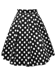 Wholesale Wiplao Cotton Summer Women Skirt Red Black White Polka Dot High Waist Vintage Tutu Skater faldas mujer Casual Swing Midi Skirts