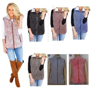 Wholesale Women Sherpa vest girls Winter Warm waistcoat Fleece sleeveless Outwear Casual Faux Fur Zip Up Jacket Women Plus Size Vests M-5XL 7 Colors