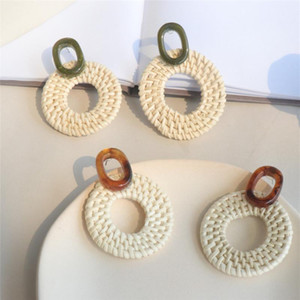 Wholesale Trendy Big Hollow Round Circle Rattan Straw Weave Long Drop Earrings Handmade Geometric Acrylic Beach Jewelry For Women Gifts