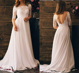 Wholesale 2020 Sexy V Backless Bohemian Wedding Dresses with Illusion Half Sleeves Chiffon Lace Scoop Neck Vestido De Novia Wedding dress Bridal Gowns
