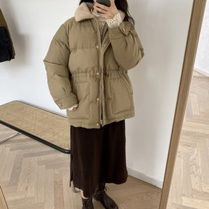 Wholesale 2019 winter new bread cotton padded women s Korean long sleeve thickened warm rabbit hair Lapel cotton padded women