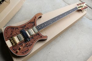 Red Brown Electric Bass Guitar with 4 Strings and Gold Hardware, Leaves the three-dimensional sculpture,White Pearl Stars Inlay