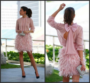 Wholesale 2019 New Gorgeous Feather Short Prom Dresses Pink Long Sleeves Open Back With Bow Evening Gowns Cocktail Party Dresses For Special Occasion