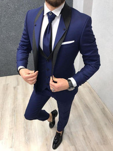 Wholesale Royal Blue Wedding Tuxedos for Groom Wear Groomsman Attire Prom Party Slim Fit Business Men Suits Jacket Vest Pants