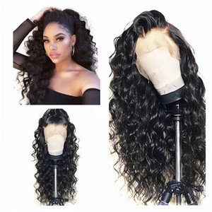 Wholesale Natural Black Long Kinky Curly Hair Cheap Synthetic Lace Front Wigs Baby Hair High Temperature Fiber Soft Lace Wigs For Black Women