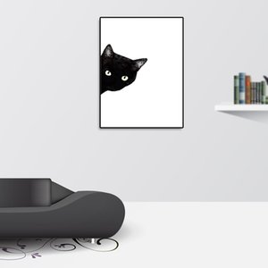 Wholesale Art Watercolor Unframed Home Hanging Cartoon Nordic Style Black Cat Kids Room Gift Picture Bedroom Canvas Painting Decorative