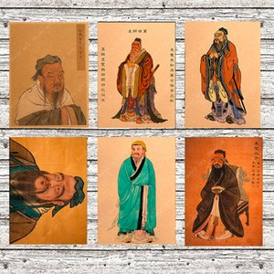 Wholesale Ancient Chinese Philosopher Confucius Canvas Painting Vintage Wall Pictures Kraft Posters Coated Wall Stickers Home Decor Gift