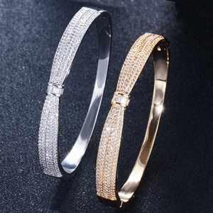 Wholesale Jewelry Europe and The United States Simple Bow Zircon Bracelet Fashion Personality Spring Buckle Ring Ladies Bracelet