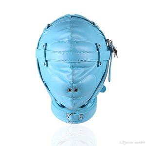 Wholesale Slave Bright Muzzles Leather Hoods Mask Removable Mouth Gag Goggles Fetish Fantasy Sex Product For Adult Head Restraints BDSM Bondage A668