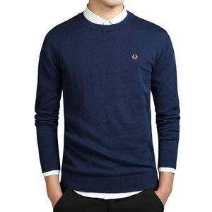 Wholesale New New winter solid color round neck sweater Men Korean Slim pullover cotton sweaters knitted fashion a generation sweater G NEW