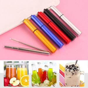 Wholesale collapsible straw resale online - Collapsible Metal Straw Set Outdoor Portable Reusable Drinking Straw With Brush Stainless Steel Foldable Straws Bar Kitchen Tool DBC VT0616