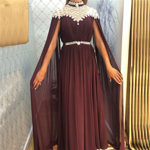 Wholesale Blingbling Prom Dresses High Collar Arabic Dubai Formal Evening Gowns Wraps Chiffon Soft Mother Of The Bride Dress