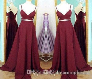 Wholesale Spaghetti Straps Burgundy Long Evening Dresses Sleeveless Cutaway Sides Criss Cross Prom Dresses Side Split Formal Party Gown Dresses