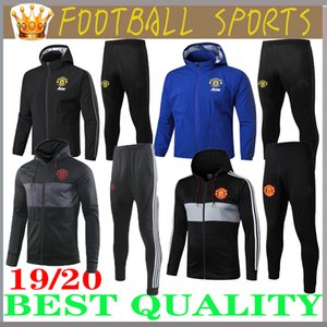 Wholesale 19 manchester training suit men Lukaku RASHFORD football jacket sportswear blue foot jogging POGBA United Soccer Tracksuit