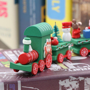 Christmas Decoration For Home Little 4 cars Train Papular Wooden Train Decor Christmas Ornaments New Year Supplies