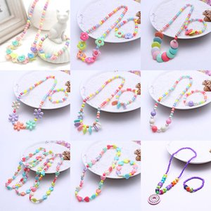 Wholesale Children jewelry sets for girls gifts kids necklace set baby Round Beads Colorful Necklace bracelet set Accessories C5749