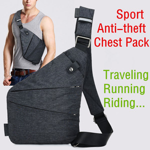 Wholesale Men Sport Anti theft Sling Bags Shoulder Strap Bag Messenger Chest Cool Bag for running riding traveling Black cm