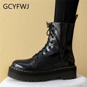 Wholesale GCYFWJ Woman Ankle Boots Lace Up Genuine Leather Zipper Boots Round Toe Short Botas Mujer Female Thick Sole Women