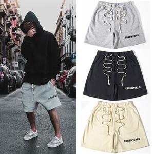 FEAR OF GOD Essentials Shorts New FOG Elastic Waist Sweat Shorts Pants Hip Hop Street Casual Drawstring Drop Crotch Shorts for Men and Women