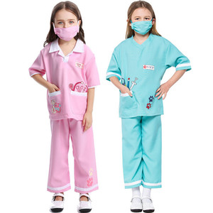 Wholesale doctor s for sale - Group buy Carnival Party Halloween Costumes Blue Pink Pet Vet Doctor Costume for Girls