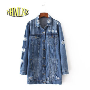 Wholesale 2017 Spring Women Jean Jacket Blue Loose Full Sleeve Turn Down Collar Single Breasted Jacket With Botton Pockets Hole New A45