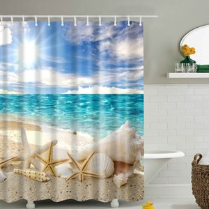 Wholesale Shell Shower Curtain Simple Fashion Cover Polyester Fabric Easy Clean Waterproof Long Digital Printing Bathroom Supplies Hanging