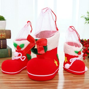 Wholesale New Gift Candy Boots Santa Claus Flocking Boots Stockings Decorative Candy Gift Box Home Decoration Supplies L2