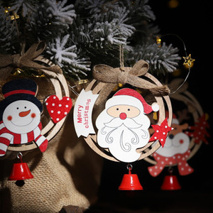 Wholesale Wooden Christmas Pendant With Bell Christmas Xmas Tree Hanging Home Door Ornaments New Year Decor Merry
