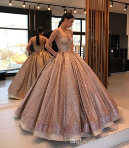 Wholesale sexy ball girls resale online - Rose Gold Sparkly Designer Ball Gown Quinceanera Prom Dresses With Spaghetti Straps Ruched Backless Sweet Dress For Girls Sequins
