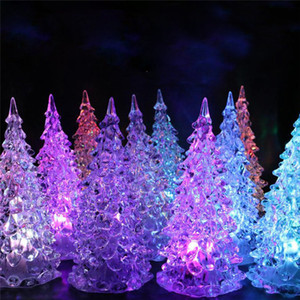 Wholesale Colorful LED color changing crystal Christmas tree shop home holiday decoration luminous color crystal acrylic Christmas toy