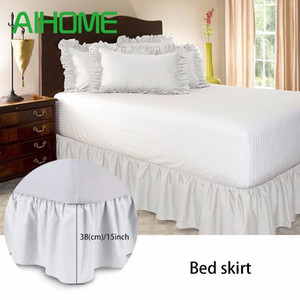 Free Shipping Hotel Elastic Bed Skirt 6 Colors Suede Fabric for King Queen Size Dust Ruffle pastoral Style Fit bedspread