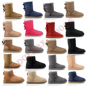 New Australia Boots Women Classic Snow Boots Ankle Short Bow Fur Booties For Winter Black Chestnut Fashion Woman Shoes Size 36-41