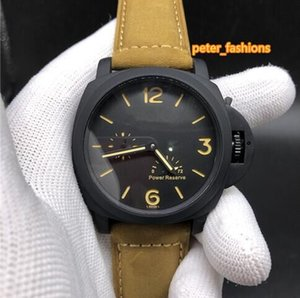 Wholesale Men s automatic mechanical watches Brown leather strap with waterproof classic watch black large dial hot popular business watch