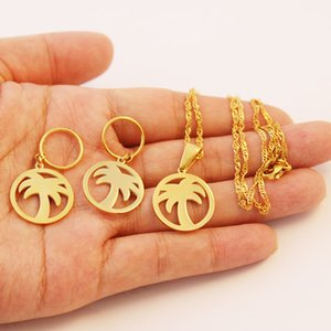 Wholesale Stainless Steel Gold Color Coconut Tree Necklace Earrings Jewelry Sets for Women s Jewellery Gift