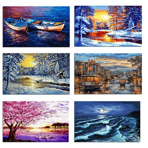 Wholesale 10 styles Frameless Digital painting diy Oil Painting tree landscape Modern wall art canvas pictures hanging For Living Room home decor
