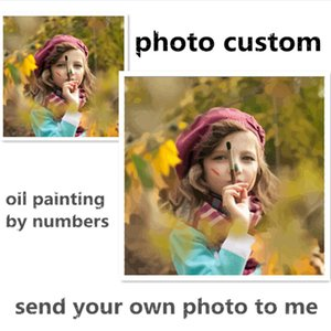 Wholesale Photo custom make your own diy digital oil painting by numbers picture drawing on canvas portrait wedding family photos SS001