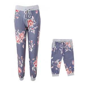 Family Matching flower long pant Mother Daughter Printing Flower Elastic Pants Mommy Kids Christmas Yoga Pant LJJK1847 on Sale