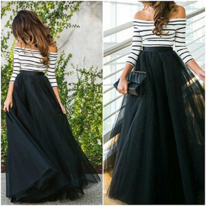 4 Layers 100cm Floor Length Skirts For Women Elegant High Waist Pleated Tulle Skirt Bridesmaid Ball Gown Bridesmaid Clothing Y19060301