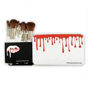 New arrival makeup brushes makeup bush 12pcs set brush foundation blush powder makeup tools metal box by hope12
