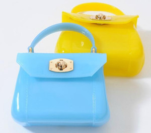 Wholesale Hot Selling new fashion Children Girls Jelly color Handbags rubber Leather Vintage Grid Mini Bags For Baby Kids Princess Party Bag